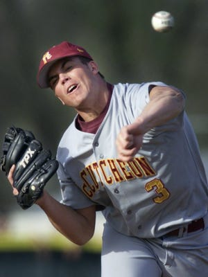 McCutcheon pitcher Clayton Richard delivers a pitch to a Harrison batter Tuesday, April 15, 2003, at Harrison High School.