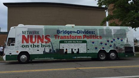 """The """"Nuns on a Bus"""" tour bus stopped in West End at the St. Joseph Church and School at 745 Ezzard Charles Dr. on Saturday as part of Catholic social justice lobby group NETWORK's tour through middle America. The tour ends in Washington D.C. on Tuesday -- the day Pope Francis will address Congress during his historic, first visit to the U.S. since taking his post in 2013."""