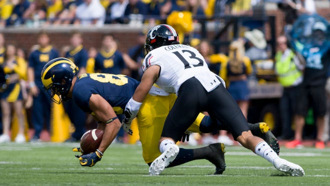 Michigan wide receiver Grant Perry has 10 catches for 124 yards and 1 TD.