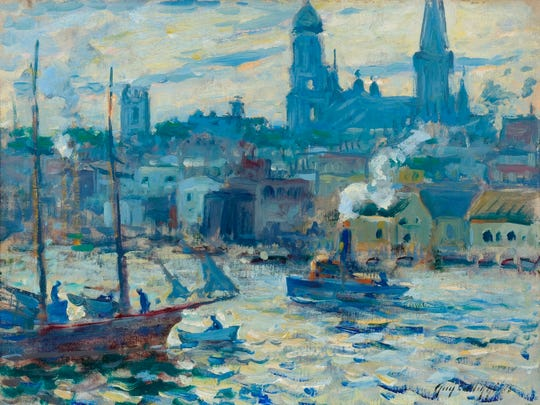 Guy Carleton Wiggins'  1916 oil painting 'Gloucester at Twilight' is among the art opening in the exhibit 'American Impressionism: The Lure of the Artists' Colony;' at the Knoxville Museum of Art.