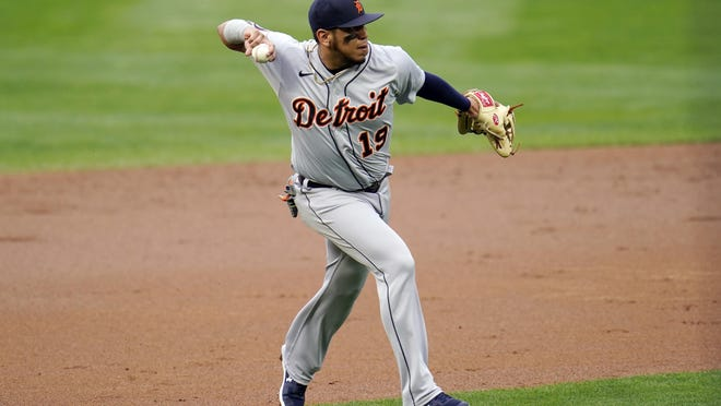 Detroit Tigers third baseman Isaac Paredes fields a grounder against the Minnesota Twins in the first inning of a baseball game Monday, Sept. 7, 2020, in Minneapolis.
