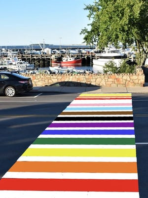 An artist's representation of what the new Plymouth Pride crosswalk could look like.