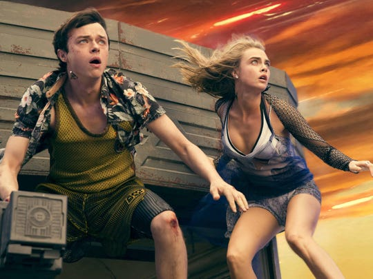 "Dane DeHaan, and Cara Delevingne in ""Valerian and the City of a Thousand Planets."""