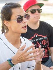 University of Florida graduate Jason Feliciano, left, talks about Greek Life while visiting Omega Delta Phi fraternity brothers, including Alan Moore, right, at the University of West Florida on Monday, November 13, 2017.