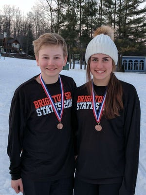 Andrew Myers (left) and Maddie Carrico of Brighton made all-state with their performances in the state Division 1 ski meet.