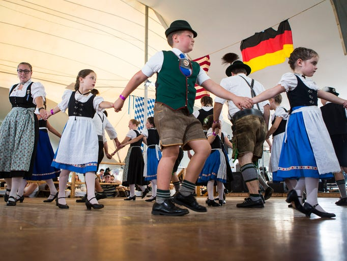 Children perform Bavarian dances as part of afternoon