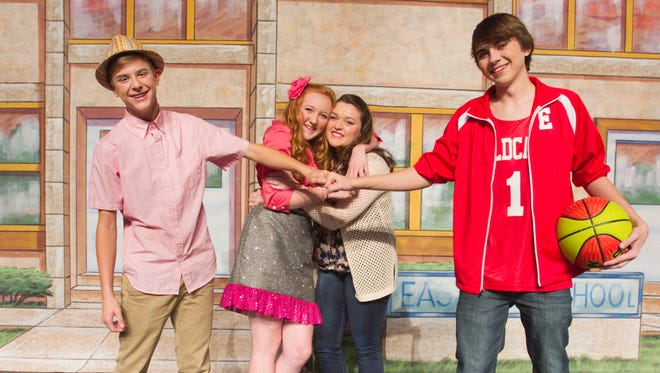 """From left, Nic Bishop as """"Ryan Evans,"""" Audrey Moyer as """"Sharpay Evans,"""" Lauren Tippie as """"Gabriella Montez"""" and Connor Norris as """"Troy Bolton"""" will perform with fellow cast members of the Howell High School Performing Arts department """"Disney's High School Musical."""""""