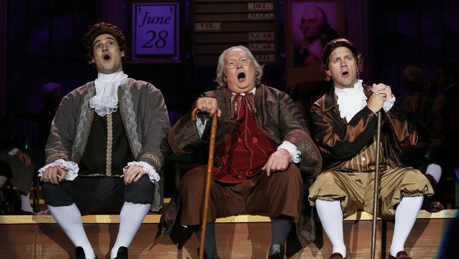 """The cast of """"1776"""" includes Matt Krieg (Thomas Jefferson), from left, Bob Brunner (Benjamin Franklin) and Rodger Pille in the leading role of John Adams."""