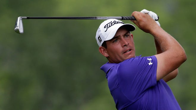 Scott Stallings watches his tee shot on the 12th hole during the first round of the PGA Championship golf tournament at Valhalla Golf Club on Thursday, Aug. 7, 2014, in Louisville, Ky.