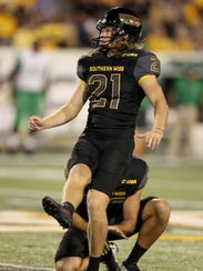 Southern Miss kicker Parker Shaunfield has fully recovered