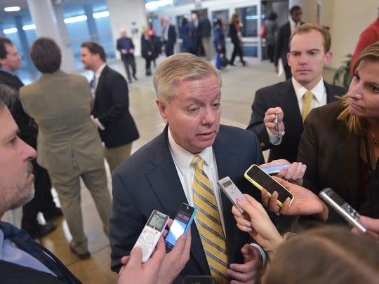 Sen. Lindsey Graham R-S.C., speaks to reporters at