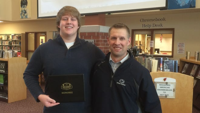 Fond du Lac's Will Wright (left) was recently selected as a recipient of the Burlsworth Character Award. Fond du Lac football coach Mike Gnewuch nominated him for the award.