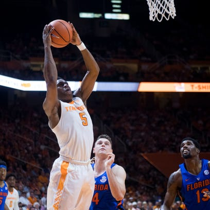 Tennessee's Admiral Schofield takes a shote and scores