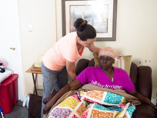 Michelle helps Amanda Arrington on Friday, Sept. 9,