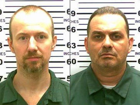 This combination made from photos released by the New York State Police shows inmates David Sweat, left, and Richard Matt. On Saturday, Sweat, 34, and Matt, 48, both convicted murderers, escaped from the Clinton Correctional Facility in Dannemora, N.Y.