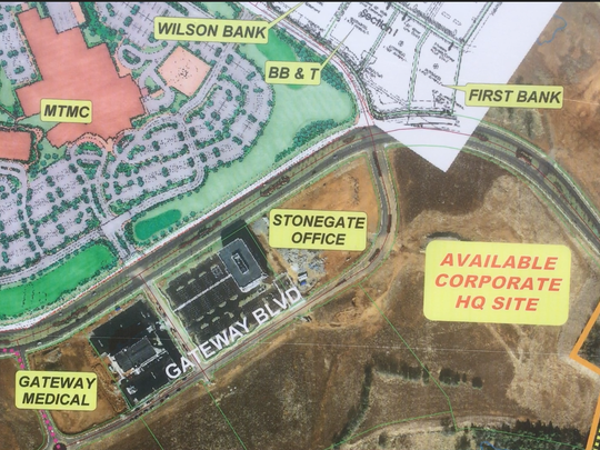"This photo of a Murfreesboro city map for an ""AVAILABLE GATEWAY CORPORATE HQ SITE"" appears on a ""For Sale"" sign at the southeast corner of Medical Center Parkway and Gateway Boulevard. The 18.6 acre property sits between the parkway and Old Fort Golf Course."