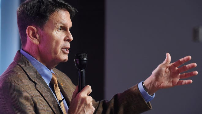Dave Hart, vice chancellor and director of athletics at the University of Tennessee has a press conference on the Tennessee campus talking about sexual assaults against student-athletes Feb. 25, in Knoxville, Tenn.