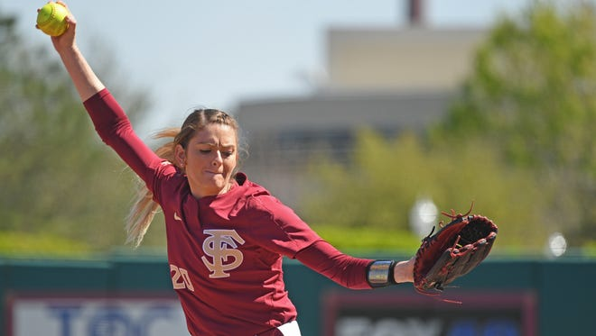 Florida State pitcher Kylee Hanson leads the Seminoles with a 0.80 earned run average this season.