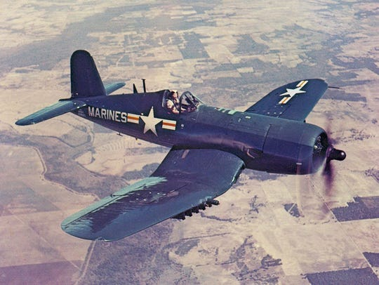File: U.S. Navy pilot Joseph A. Welzer, crashed a Corsair