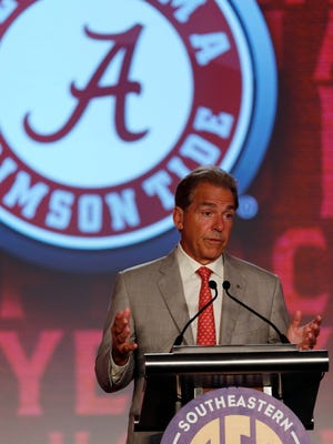 Alabama head coach Nick Saban speaks to the media during SEC media day at Hyatt Regency Birmingham-The Wynfrey Hotel in Hoover, Ala.