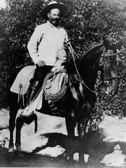 Pancho Villa on his famed horse, Siete Leguas. Note the distinctive pommel on the saddle.