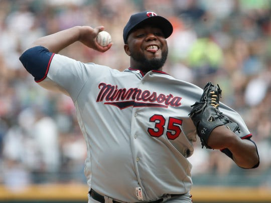 Minnesota Twins starting pitcher Michael Pineda delivers during the first inning of a baseball game against the Chicago White Sox Saturday, June 29, 2019, in Chicago. (AP Photo/Jeff Haynes)