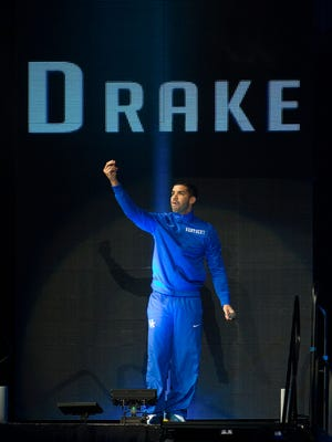Rapper, Drake, takes the stage during the Big Blue Madness event at Rupp Arena to speak about his love for the University of Kentucky. October 17, 2014.