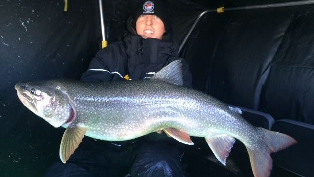 A lake trout caught on Lake Superior with guide Jeff Evans.