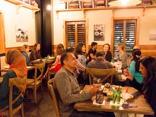 The dining room during the Avante Garde Indian pop-up at Dark Roux in Lafayette Feb, 24, 2016.