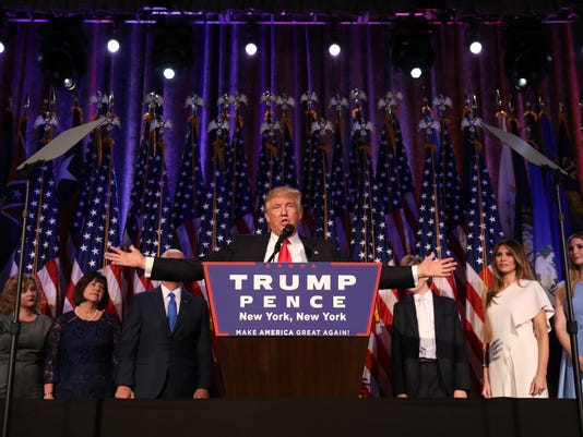 President-elect Donald Trump addresses the country after winning the election, around  3 a.m. in New York.