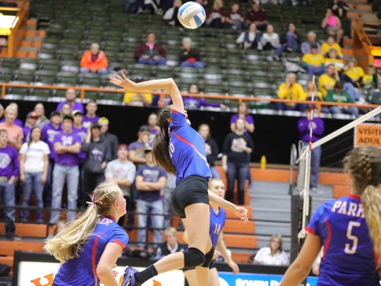 Parker's Hannah Viet goes up for the kill Thursday against Harding County.