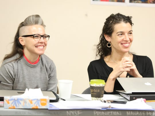 Erin McKeown, left, and Quiara Alegría Hudes in rehearsal