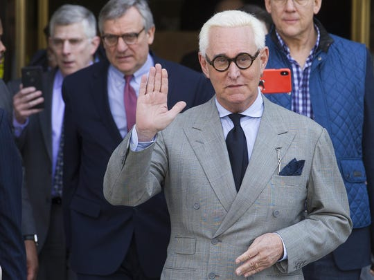 Roger Stone, an associate of President Donald Trump, leaves the U.S. District Court, after a court status conference on his seven charges: one count of obstruction of an official proceeding, five counts of false statements, and one count of witness tampering, in Washington, Thursday, March 14, 2019.