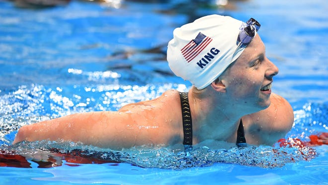 Lilly King (USA) after the women's 100m breaststroke heats in the Rio 2016 Summer Olympic Games at Olympic Aquatics Stadium.
