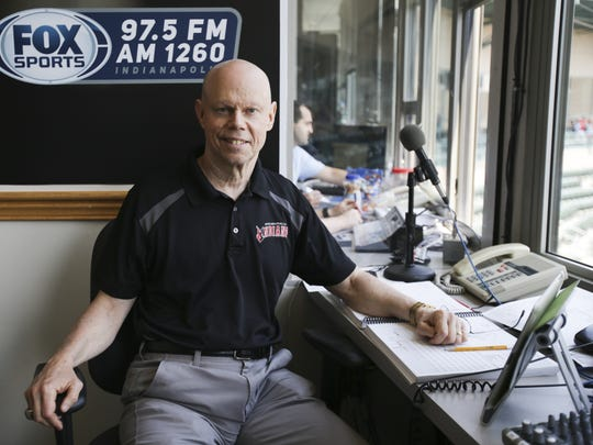 Howard Kellman in the home radio booth at Victory Field, June 26, 2016.