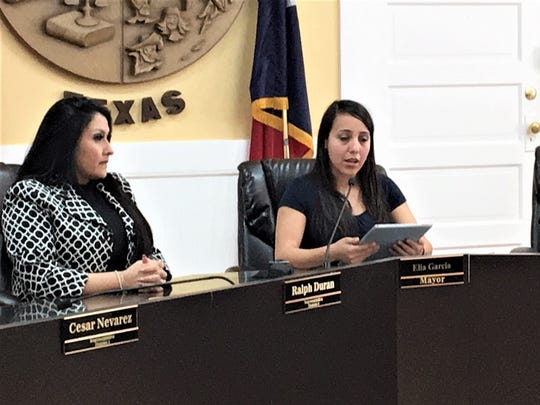 Socorro Mayor Elia Garcia, center, talks at a news conference in March with City Manager Adriana Rodarte and interim police Chief Jasiel Muñoz.