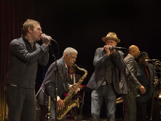 Brian Fallon, left, pictured with the Preservation Hall Jazz Band and Danny Clinch (third from left) at the 2017 Asbury Park Music and Film Festival at the Paramount Theatre.