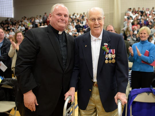 Rev. Mark Brauer, left, poses with Ted Klapperich after