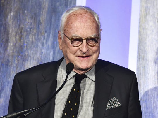 "Producer and screenwriter James Ivory accepts the best feature award for ""Call Me by Your Name"" at the 27th annual Independent Film Project's Gotham Awards in New York in November."