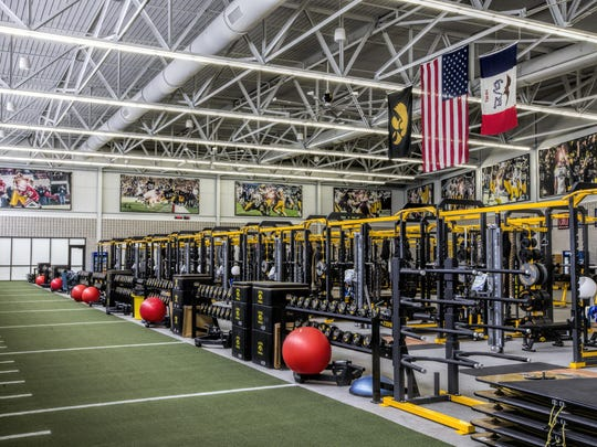 A shot of Iowa's new 23,000-square-foot weight room in the Football Operations Center. It has been a big deal for recruits.