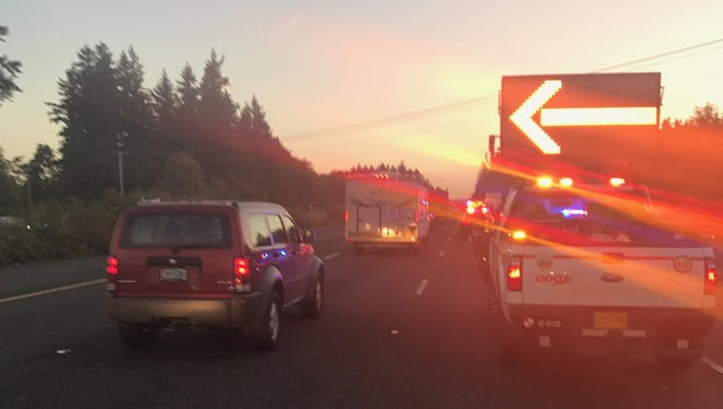 A crash is slowing traffic on Interstate 5, south of Wilsonville Monday morning.