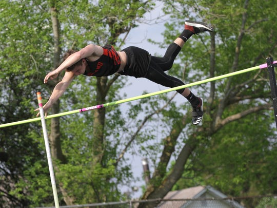 Ashland's Gavin Rohr cleared 13-9 to win the pole vault in Friday's Ohio Cardinal Conference meet.