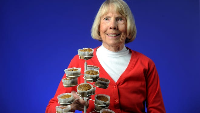 Cook du jour Mary Jacobson shows her pumpkin chocolate chip muffins.