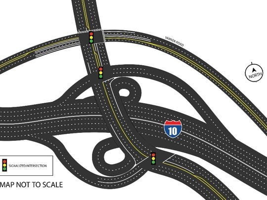 This diagram shows the final design for the new Interstate 10 interchange at Jefferson Street.