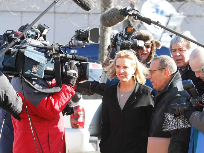 Kerry Kennedy enters the Westchester County Courthouse in White Plains on  Feb. 24, 2014, the first day of the trial against Kerry Kennedy who was charge with DUI.