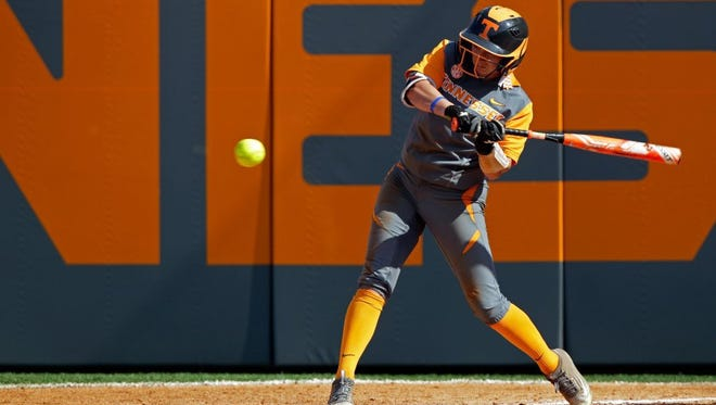 Tennessee infielder Taylor Rowland (9) swings at a pitch during their NCAA regional softball game against Arizona on May 22, 2016. Arizona won 4-3 in 8 innings to advance.