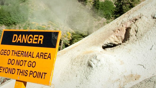 A reminder to stay safe in Lassen Volcanic National Park.