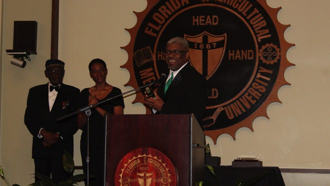 Victor Gaines, the Florida A&M University Leon County Chapter President speaking at the gala.