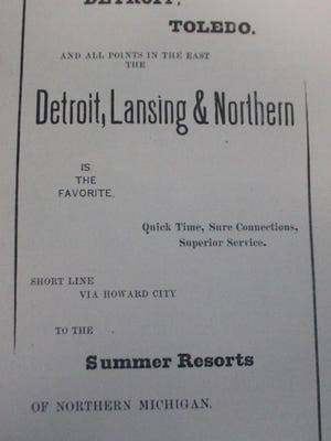 """This week's photo features an ad from """"Ionia in 1891"""" for the Detroit, Lansing & Northern railroad advertising their routes to the Summer Resorts of Northern Michigan."""
