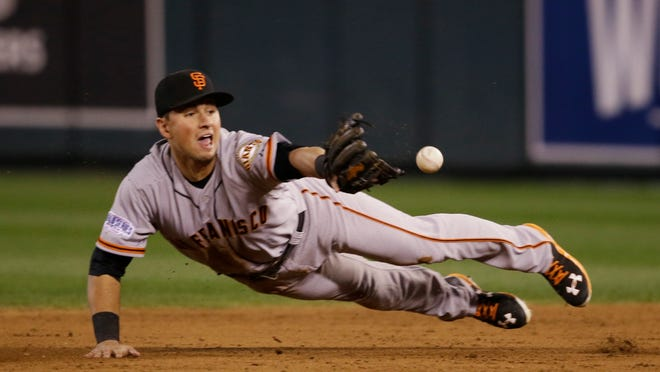 San Francisco Giants second baseman Joe Panik flips the ball to Brandon Crawford for a key double play on a grounder by Eric Hosmer of the Kansas City Royals during the third inning of Game 7 of the World Series on Wednesday.